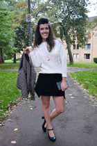 black Choies skirt - heather gray Choies jacket - white knitted OASAP sweater