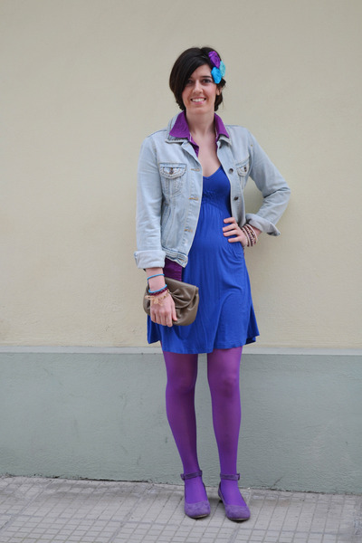 dcc31775d088 blue Zara dress - light blue jean Mango jacket - purple Calzedonia tights