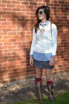 ivory Primark sweater - brown leopard Migato boots - light blue Bershka shirt