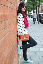 white Sheinside shirt - light blue Topshop shoes - ruby red vintage scarf