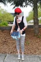 white OASAP leggings - sky blue OASAP bag - red OASAP blouse