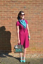 dark khaki vintage bag - hot pink cotton H&M Trend dress - teal Bershka scarf
