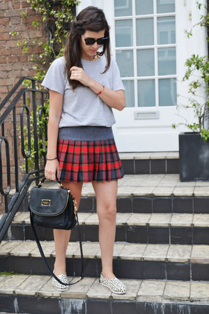 red checked tartan BSB skirt - black romwe bag
