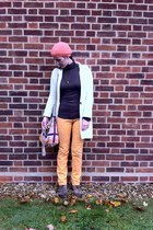 vintage jeans - asos boots - handmade hat - vintage blazer - Dorothy Perkins bag