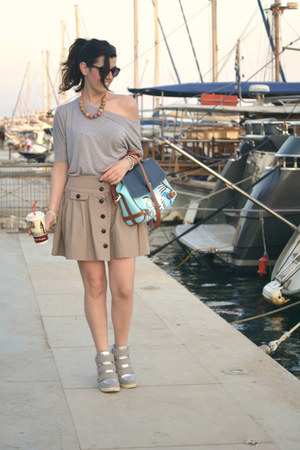 beige Primark skirt - blue OASAP bag - silver next wedges
