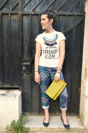 yellow Very bag - blue La Redoute shoes - green Stradivarius necklace