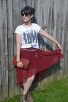 ruby red H&M skirt - asos boots - beatles H&M top