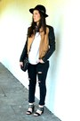 Black-topshop-jeans-black-front-row-shop-hat-burnt-orange-romwe-jacket