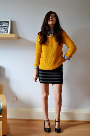 yellow knitted foymall jumper - heather gray cotton OASAP dress