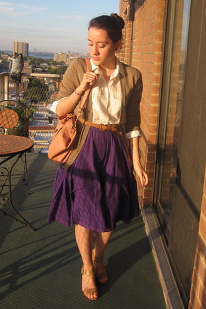 purple JCrew skirt - light pink Urban Outfitters bag - ivory JCrew blouse