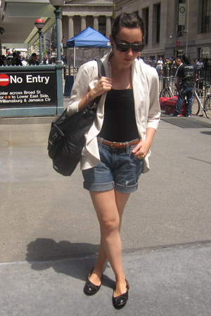 black Roxy bag - white Urban Outfitters blazer - sky blue Old Navy shorts