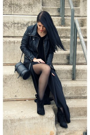 black Zara boots - black Zara jacket - black Zara skirt