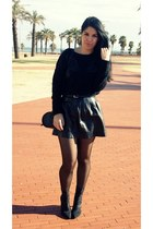 black H&M boots - black Pull & Bear sweater - black Pull & Bear skirt