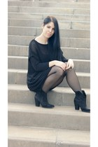 black Zara boots - black Zara dress