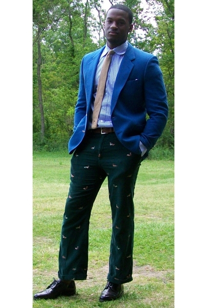 thrift blazer - custom shirt - Goodwill pants - Cole Haan shoes