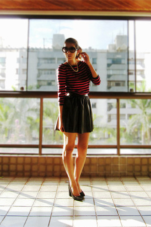 black Zara skirt - hot pink Zara shirt - black Zara pumps