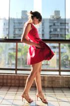 red Zara dress - cream avida sandals