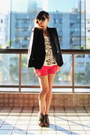 Black-renner-blazer-white-zara-shirt-hot-pink-zara-shorts