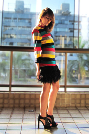 black Zara skirt - yellow vintage cardigan - red avida sandals