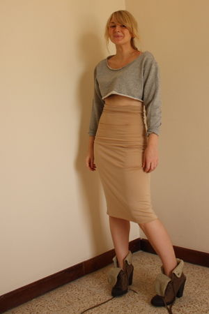 gray Primark sweater - beige handmade by my tailor skirt - brown Topshop boots