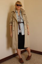 beige Zara coat - blue Topshop shirt - silver Zara t-shirt - black lanvin skirt