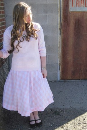 mary janes 6pmcom shoes - pink White Stag sweater - pink plaid handmade skirt -