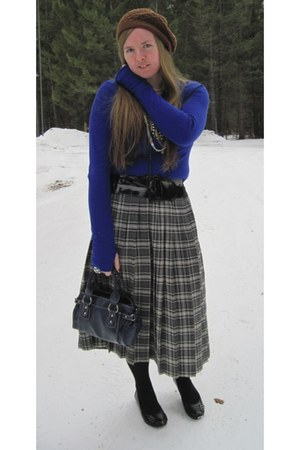 light brown Claires hat - navy JcPenneys shirt - black Maurices belt - heather g