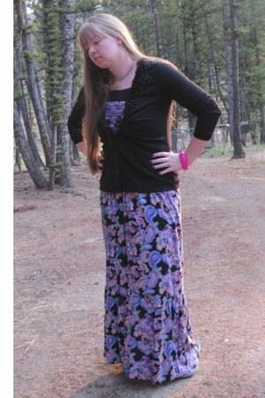 violet Macys dress - black Maurices cardigan