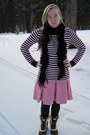 Black-payless-scarf-maroon-gap-shirt-bubble-gum-j-crew-skirt-black-wal-mar