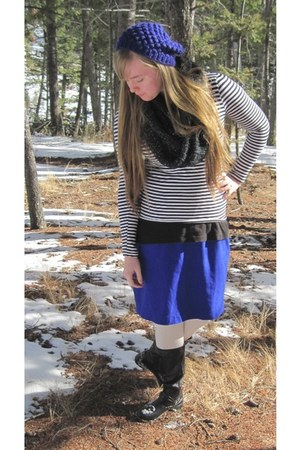 striped repurposed shirt - black go jane boots - beret Forever 21 hat