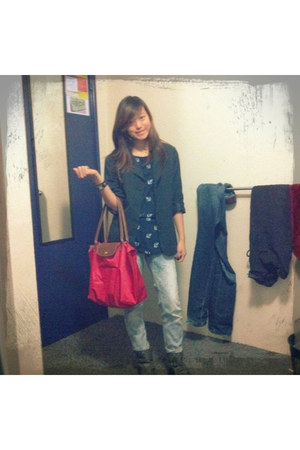 Mango blazer - Kmart boots - Topshop jeans - longchamp bag