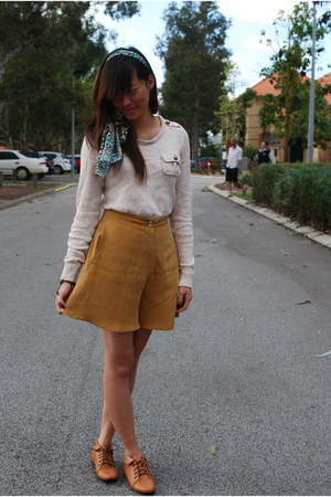 Topshop shorts - chiffon Sportsgirl scarf - Dotti jumper