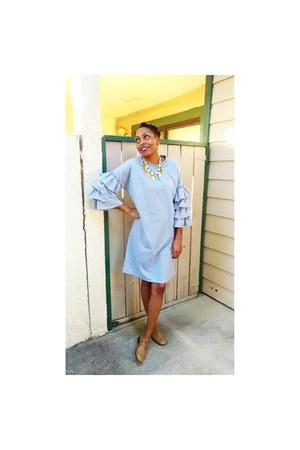 cotton ruffles Dress dress - tan brogues Jil Sander flats
