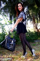 black butterfly Nordstrom tights - black tillys bag