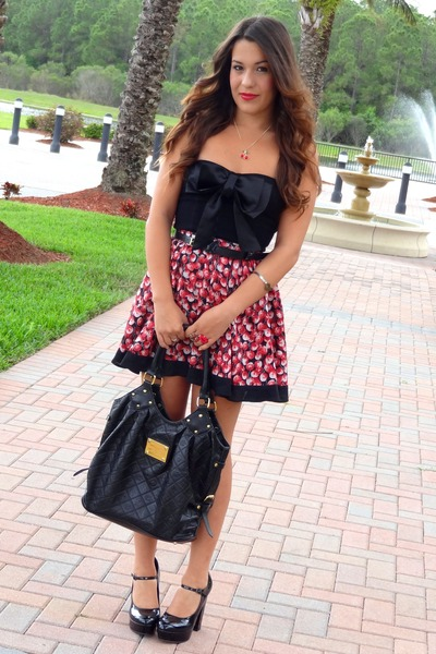 84e7c3e825 red cherry print material girl skirt - black corset bow Charlotte Russe top
