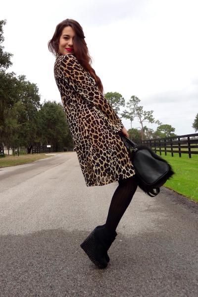 red textured mini Forever 21 dress - black faux fur H&M bag