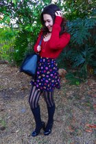 black lips Forever 21 skirt - red v-neck Bebe sweater - black faux fur H&M bag