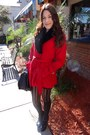 Red-forever21-coat-black-faux-fur-h-m-belt-black-mary-jane-guess-pumps