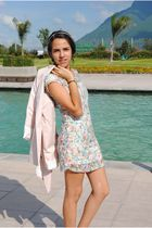 pink Zara blazer - Floral Zara dress - brown Zara shoes