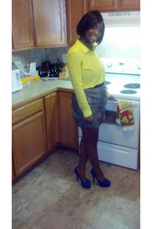 sheer Forever 21 shirt - ruffles Forever 21 skirt - suede Bakers heels