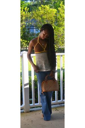 straw bag - wideleg Old Navy jeans - crochet top