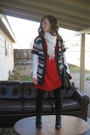 Black-simply-vera-wang-boots-red-old-navy-dress-black-forever-21-leggings-