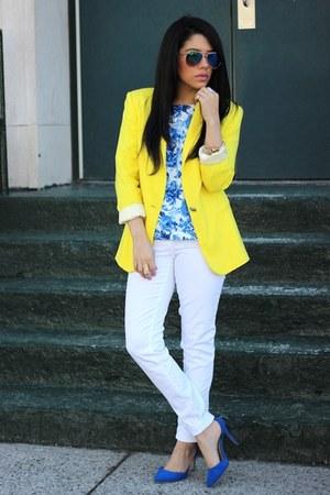 Zara blazer - white H&M jeans - floral Forever 21 top - Breckelles heels