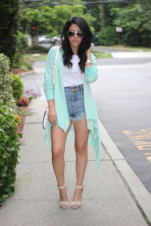 oversized Forever21 cardigan - ripped denim Choies shorts - Love Culture heels