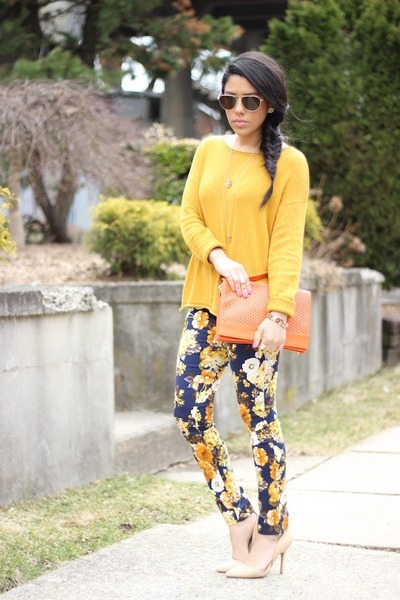 floral Choies pants - H&M sweater - Forever21 heels