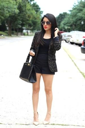 leopard H&M blazer - OASAP bag - H&M shorts - Forever21 heels