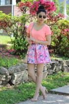 H&M shirt - floral Aeropostale skirt - ankle strap Zara sandals