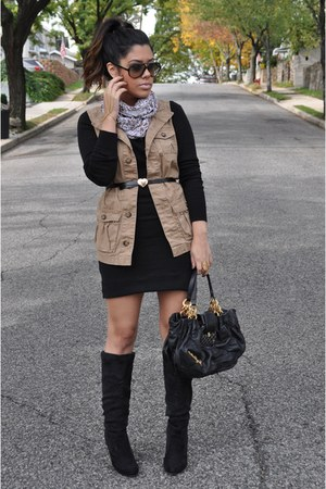 Old Navy vest - Shoedazzle boots - H&M dress - Juicy Couture bag