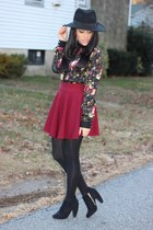 H&M hat - booties Target boots - skater OASAP skirt - floral Choies blouse