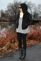 faux leather Charlotte Russe jacket - studded Forever 21 boots - beanie H&M hat